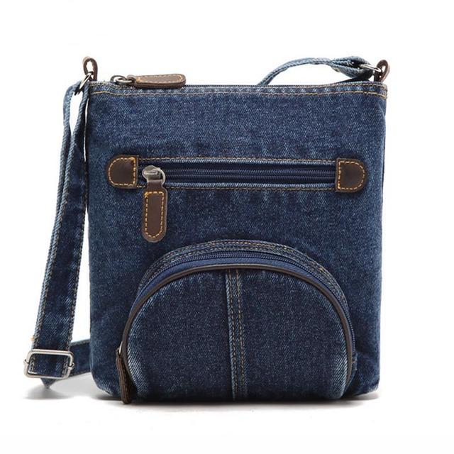 European Women messenger bag front pocket cowboy bags Fashion blue denim shoulder bags women handbag classical