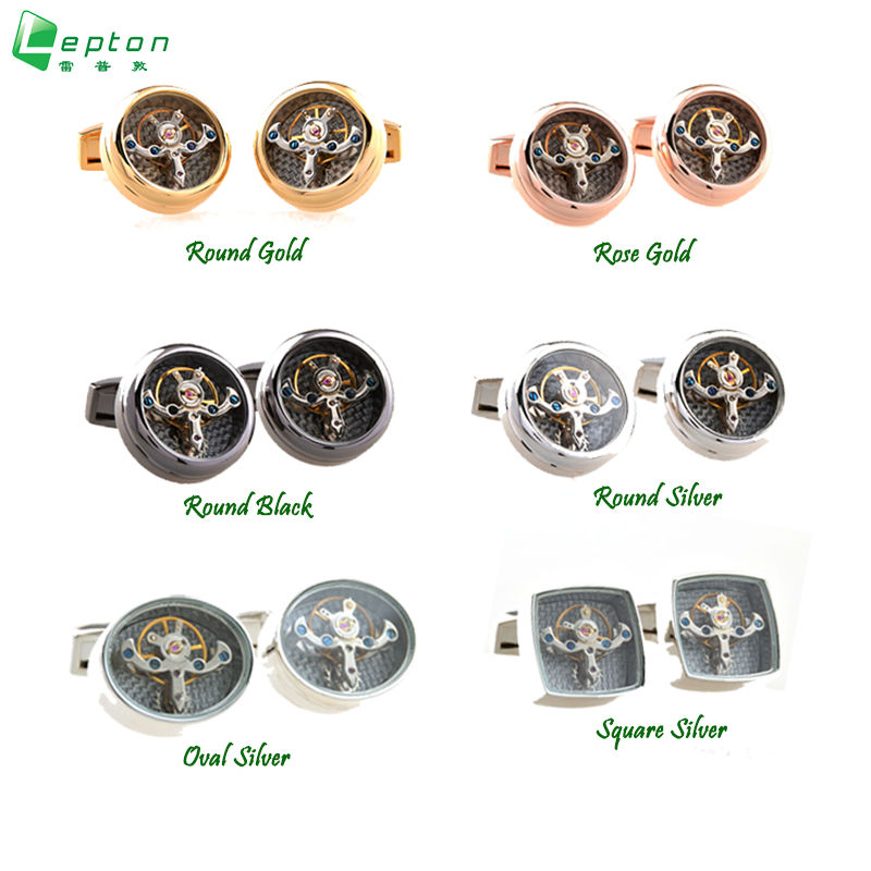 LEPTON Functional Tourbillon Mechanical Watch Cufflinks Male French Cuff Links Man Men Cufflink Gift Free Shipping