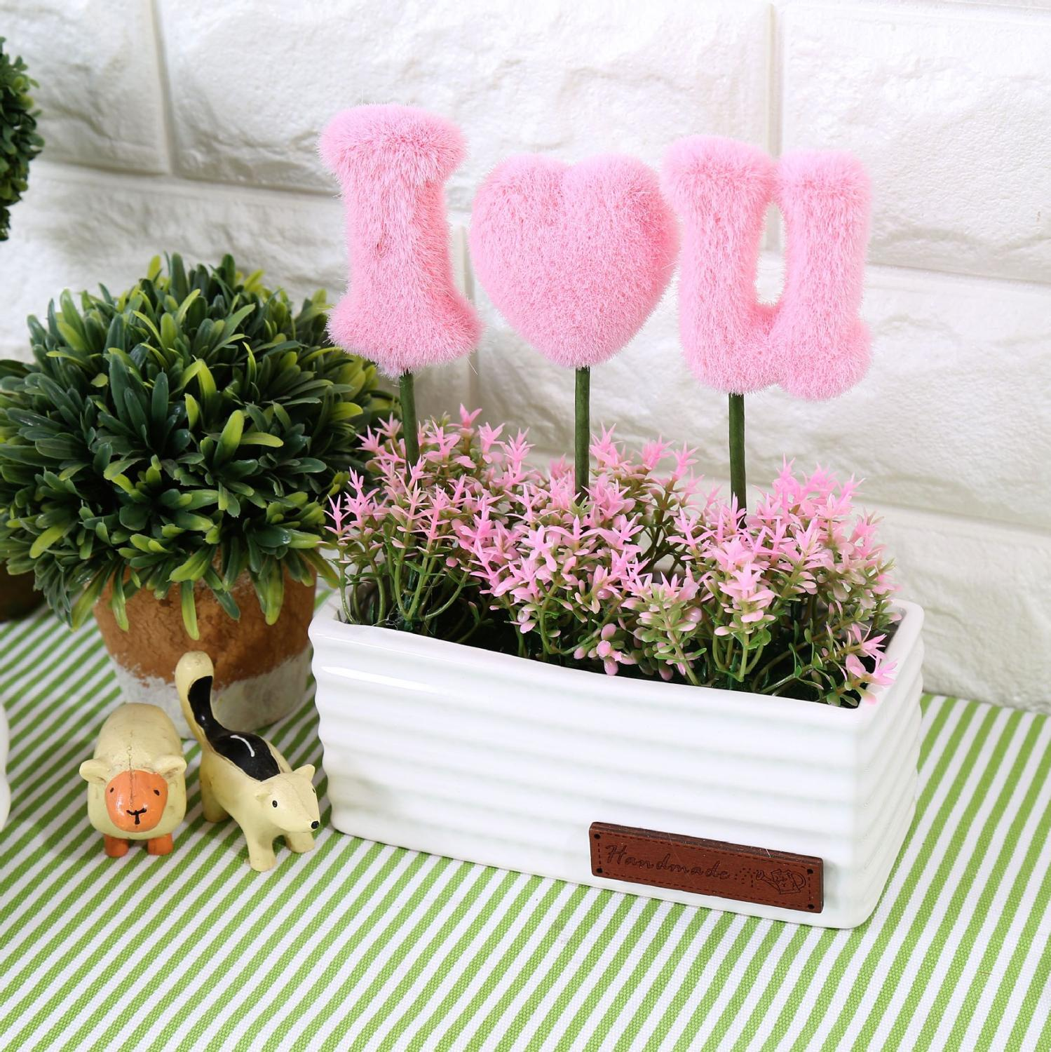 Artificial Plants Green Potted LOVE Artificial Plastic Flowers ...