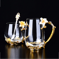 Vintage Diamond Glass Cups Flower Enamels coffee mug wedding glasses beer steins