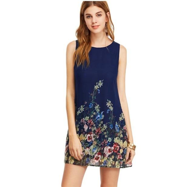 Дамы новое прибытие многоцветный рукавов цветочный печати boho платья женские летние шею вырезать милые shift dress