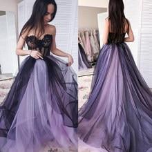 Vestido de fiesta largo de tul Lila, escote con forma de corazón de encaje negro, vestidos formales para noche