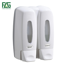 FLG Liquid Soap Dispenser 370ml*2 Wall-mounted Shower Bottle Double for Bathroom Washroom Kitchen