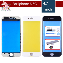 For iPhone 6 6G Touch Screen Digitizer Lens Front glass LCD panel with frame bezel for iphone6 LCD External GLASS Replacement цена в Москве и Питере