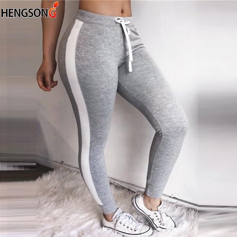 2018 Summer Fitness Women Pencil Pants Casual Side Stripe Drawstring Women Full Pants Skinny Pants Female Capris