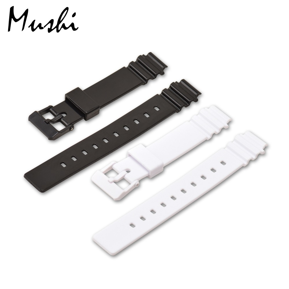 MS Watch Strap for Casio LRW-200H Black Women Lady Watchband Pin Buckle Watch band Watch Case + Tool ms silicone watch strap 16mm for casio dw 6900 black rubber sport men watchband pin buckle watch band watch case with tool