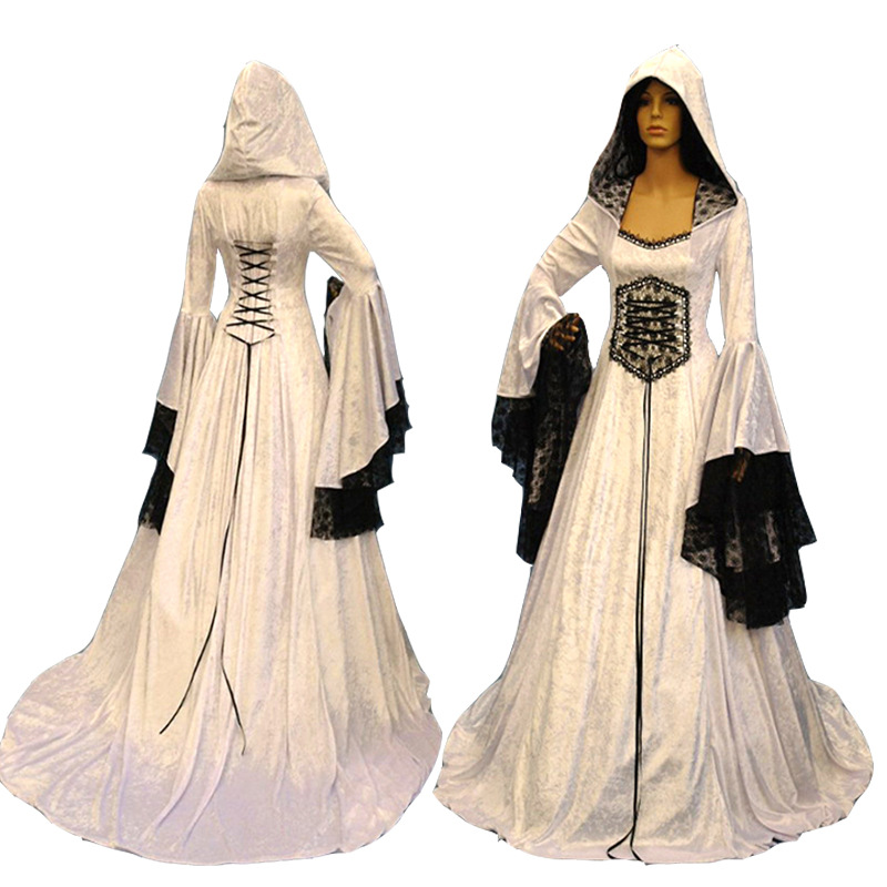 Adult Women Medieval  Wedding Maxi Gown Robe Dress Vintage White Gothic Pagan Costume Hooded Lace Dress For Ladies S-2XL