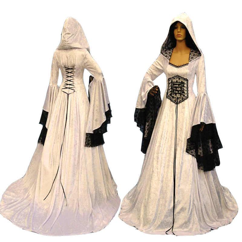 大人女性中世ウェディングマキシガウンローブドレスヴィンテージ白ゴシック異教衣装レースドレス女性のための S-2XL