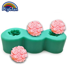 Nicole silica gel mould lz0090 small rose ball chocolate candle handmade soap