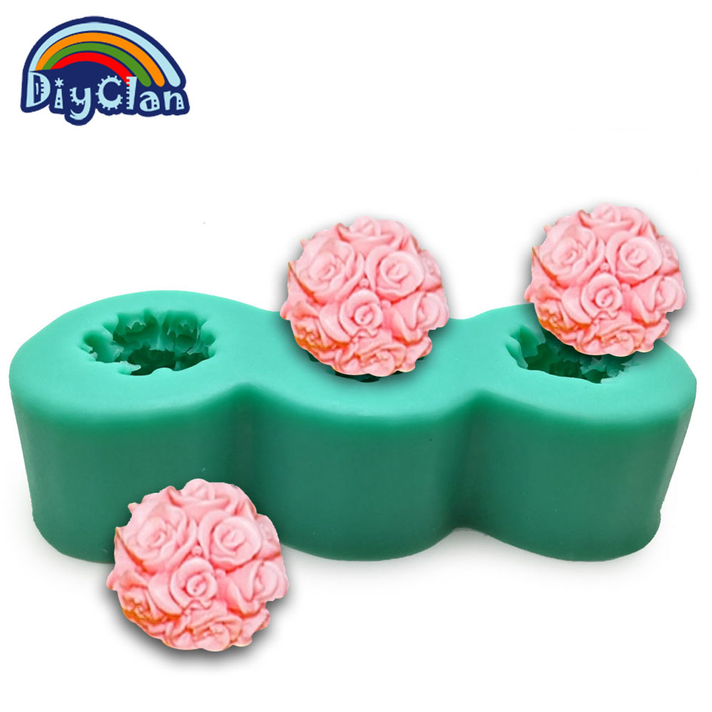 3D food grade silicone mold for cake decorative wedding small rose ball chocolate candle form handmade soap mould S0228HM25