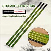 FRP Fishing Rod Super Hard Powerful Travel Fishing Tackle Imitation Bamboo Pattern Pole Rod 2.7/3.6/4.5/5.4/6.3/7.2m YS-BUY