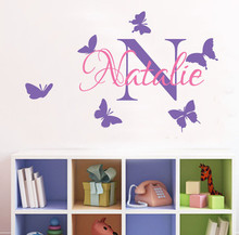 Customized Girls Room Personazlied Name Butterfly  wall Decals Removable Vinyl Sticker for Kids KW-133
