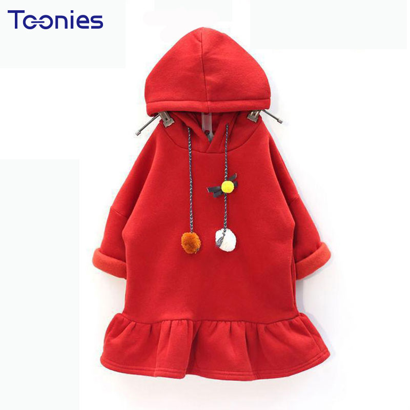 Thick Girls Dresses Fashion Pleated Girl Dress Warm Cotton Princess Vestidos 2018 Winter Hooded Kids Costumes High Quality Dress spring autumn girl style dress princess girls dresses high quality cotton kids party costumes solid thicker vestidos zipper bow