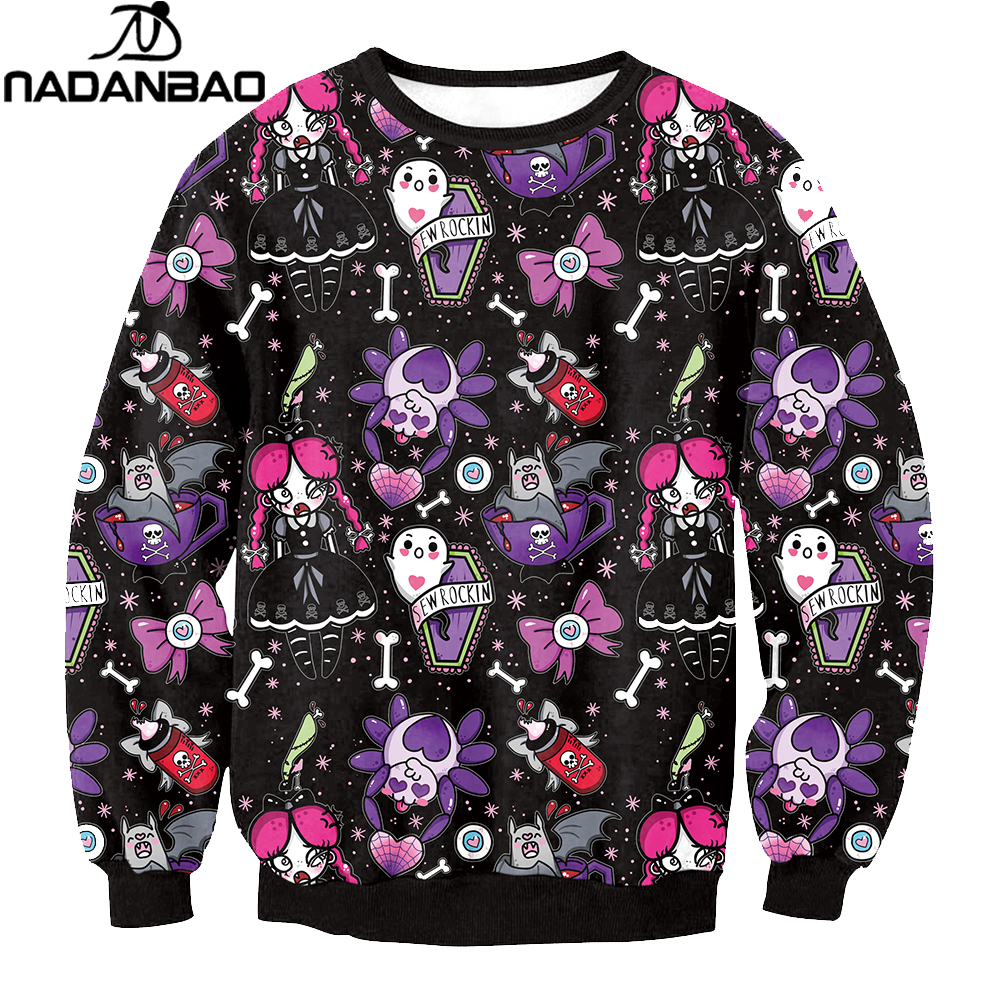 NADANBAO Brand New Fashion Women Hoodies Sweatshirt Skull Flower Girl Digital Printed Tracksuit Long Sleeve Sudaderas Mujer