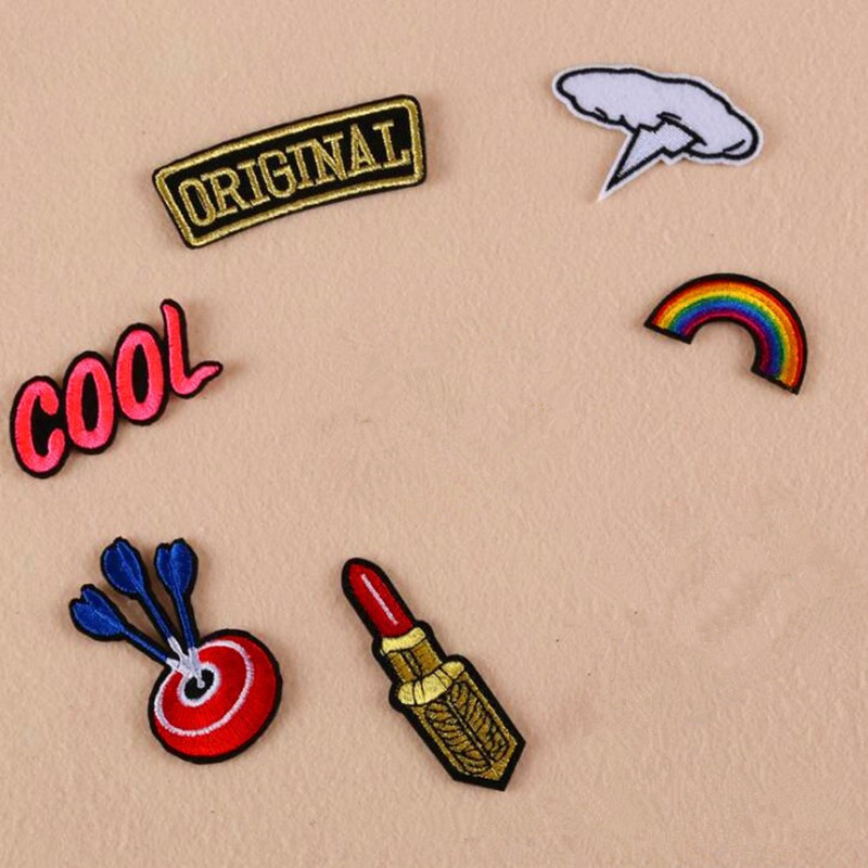 DOUBLEHEE 057 Love Smile Cool Lip The Meat Burger Patches Iron On Or Sew Fabric Sticker For Clothes Embroidered Appliques DIY in Patches from Home Garden