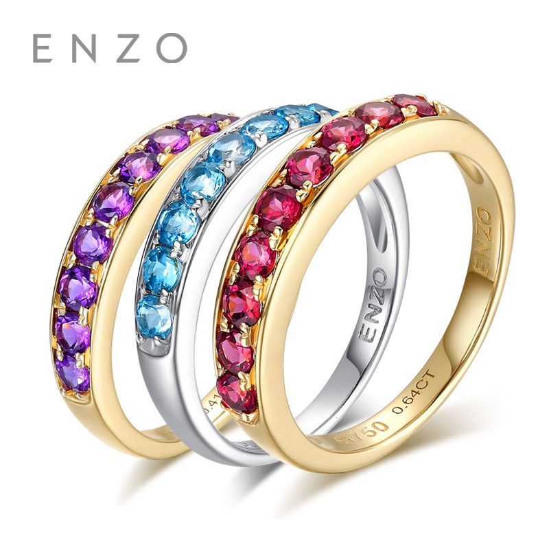 ENZO Natural Gemstone 0.50 Ct Amethyst 9K Yellow Gold Ring For Women Fine Jewelry Garnet And Blue Topaz Availble enzo natural gemstone certified garnet earrings 9k yellow gold fashion ear line for women earrings a pair of earrings