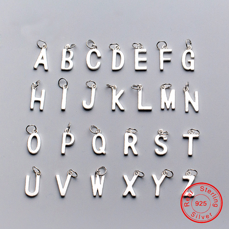 UQBing Wholesale 100% 925 Sterling Silver 14-15mm A To Z Alphabet Charms Pendents DIY Jewelry Findings Letters