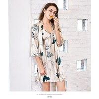 LEECHEEWomen's Весна susoenders средний рукав внешний платье Шелковый домашний комплект