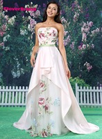 CloverBridal Fresh And Lively Printed Flowers Party Dress Satin Organza Light Pink Irregular Skirt Court Train