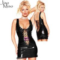 Sexy Leather Apparel Club Wear Black Latex Erotic Catsuit PVC Sheath Sleeveless Mesh Mini Dress Sex