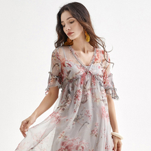 Silk Dress Lady Office Half Flare Sleeve Print Long Dresses Summer V-Neck Elegant Dress Women Casual Knee-length Sexy Dress 2019 v neck half sleeve tea length dress