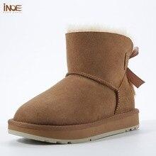 купить INOE women ankle winter snow boots sheepskin leather fur lined and mink fur tassels high quality dusk pink blackwinter shoes TG1 по цене 8546.75 рублей