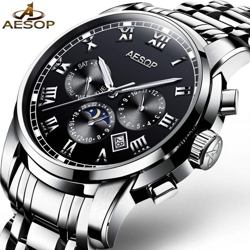 AESOP Brand Fashion Men Watch Men Black Automatic Mechanical Wristwatch Calendar Male Clock 2018 Relogio Masculino Hodinky 46 fashion top brand watch men automatic mechanical wristwatch stainless steel waterproof luminous male clock relogio masculino 46