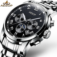 AESOP Brand Fashion Men Watch Men Black Automatic Mechanical Wristwatch Calendar Male Clock 2017 Relogio Masculino