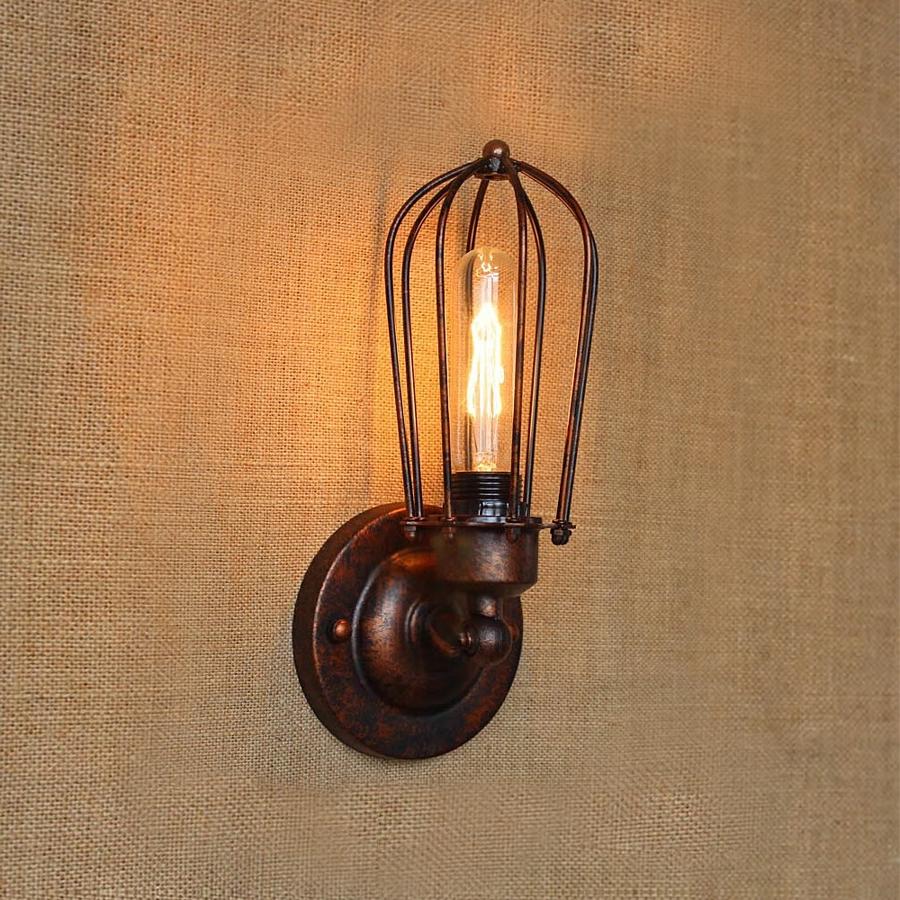 Image 3 - Vintage Industrial Wall Light,Rust Wall Lamp,светильник бра,Loft wall sconce Light Fixture,180°Adjustment,lampshade Up and downLED Indoor Wall Lamps   -