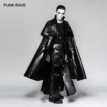 PUNK RAVE Men's Punk Rock Long Cloak Steampunk Leather Cape Coat Stage Perform Halloween Party Club Cosplay Men Long Trench Coat
