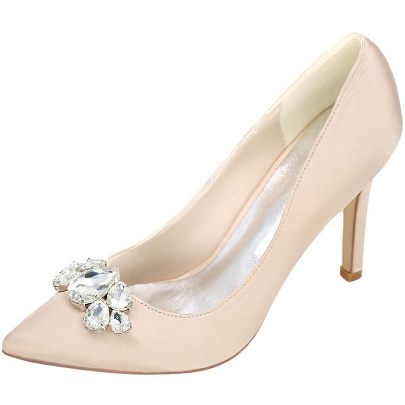 LOSLANDIFEN Women Rhinestone Wedding Shoes 8CM High Heels Pointed Toe Bridal Shoes Shallow Cut Slip-on Pumps Red Blue White все цены