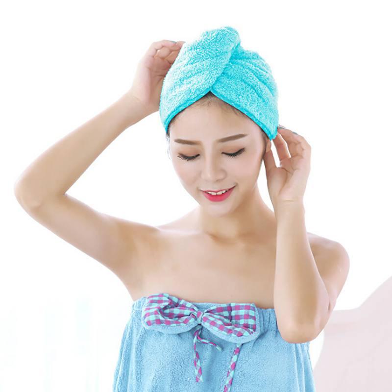 New Women Absorbent Microfiber Towel Turban Hair-Drying Shower Caps Ponytail Holder Bathing Cap Bathrobe Hat