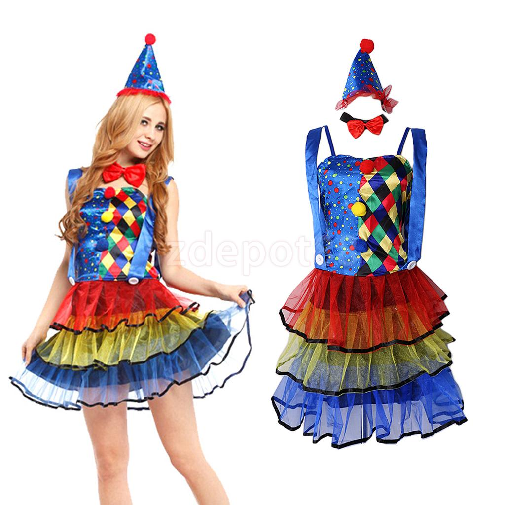 Funny Circus Clown Costume Comedy Woman Ladies Dress Party Halloween Carnival Christmas New Year Fancy Dress