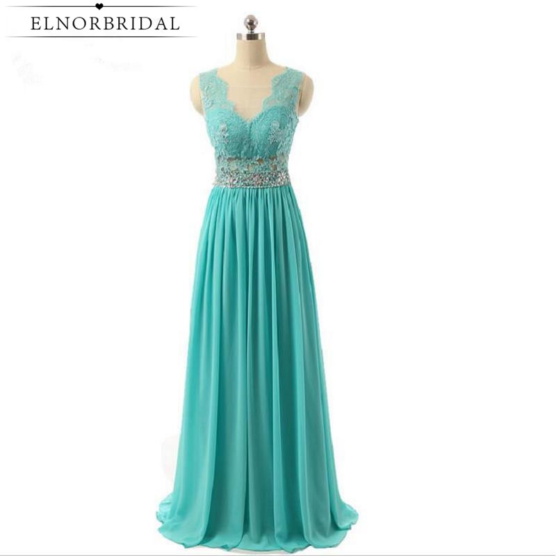 Turquoise Long Prom Dress Open Back Sheer Special Occasion Party Dresses 2017 Robe De Bal Formal Evening Gowns Free Shipping