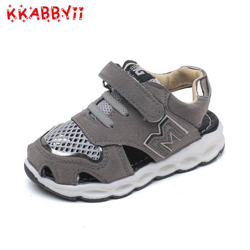Fashion Kids Cloesd Toe Beach Sandals for Boys Summer Breathable Air Mesh Sneakers Shoes Children Girls Cut-Outs Sandals 21-30