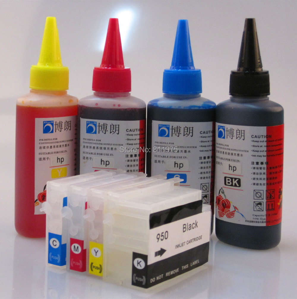 950 951 Refillable INK cartridge for HP Officejet Pro 8100 8600 251dw 276dw 8630 8610 8620 8680 8615 8625 + for hp Dye Ink 400ML for hp 951 951xl magenta ink cartridge for hp officejet pro 8100 8610 8620 8630 8600 8660 8640 8680 8615 printer