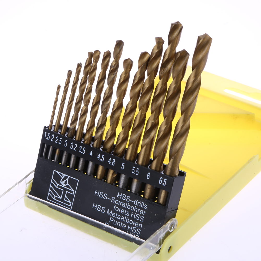 13 PCS Metric System Durable Titanium Quick Change Twist Drill Bits Set Tool Mini Electric Drill Bit Tools 8 32mm 22pieces metric chrome vanadium crv quick release reversible ratchet combination wrench set gear wrench spanner