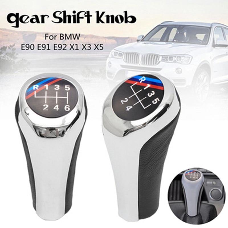 Car Gear Shifter Lever Shift Knob Stick Head for BMW 1 3 5 6 Series X1 X3 X5 E60 E61 E65 E83 E84 E90 E91 E92 Manual Speed Shift Knob 6 Speed Style 2