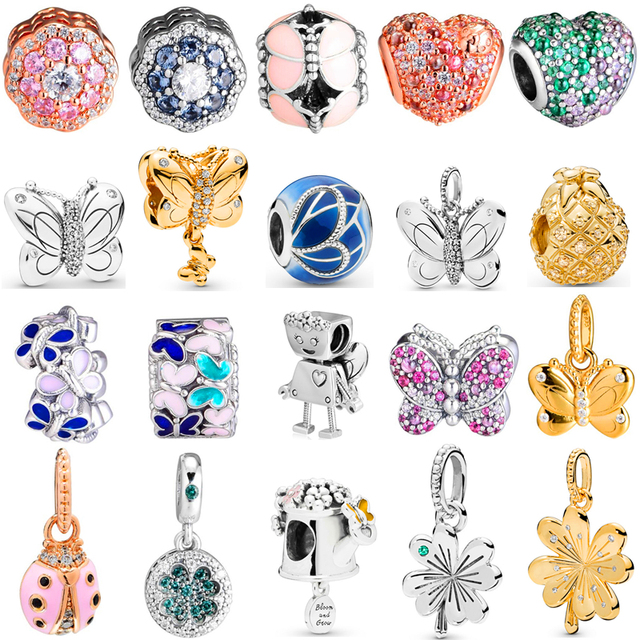 2019 Garden Collection Butterfly & Lucky Four-Leaf Clover Charms fits  Bracelet Bangles charm silver 925 Original Beads.
