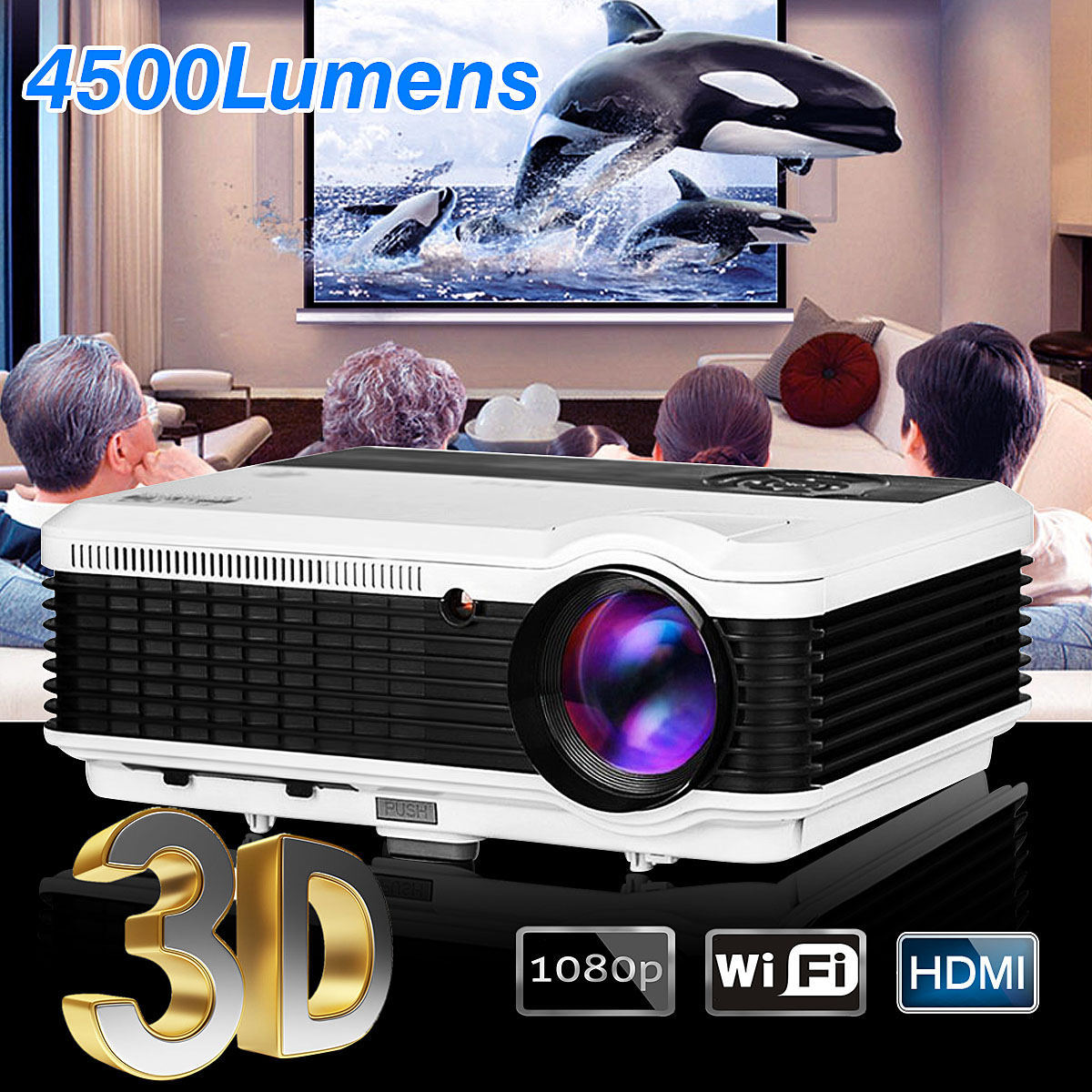 4500 Lumens LED 1080P Full HD Portable Android WIFI Projector 3D Multimedia CPU with Stereo Speaker for Theater Home Business электрический станок для заточки ножей chef'schoice cc220w