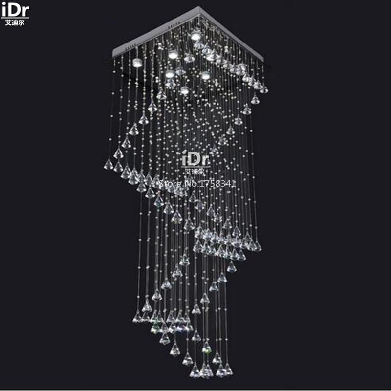現代の クリスタル ランプ クリスタル階段ランプ ワイヤー吊り デュプレックスヴィラ建物エンジニアリング ランプ天井ライト