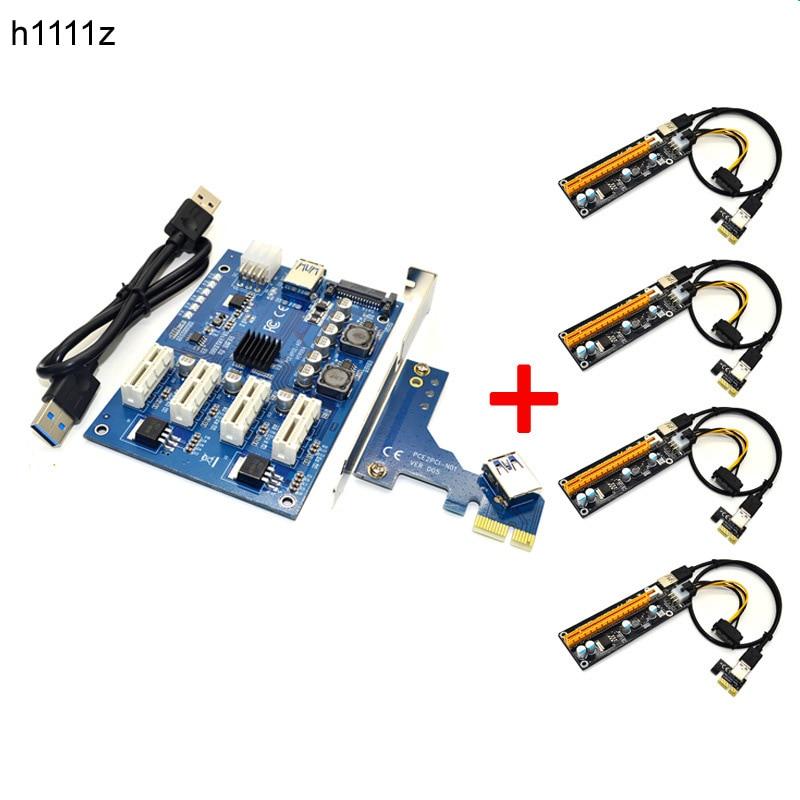 Riser Kit PCIE 1 à 4 PCI E Express 1X à 16X Riser Carte Mini ITX 1X à Externe 4 PCI-E Slot Carte Adaptateur pour BTC Miner Mines