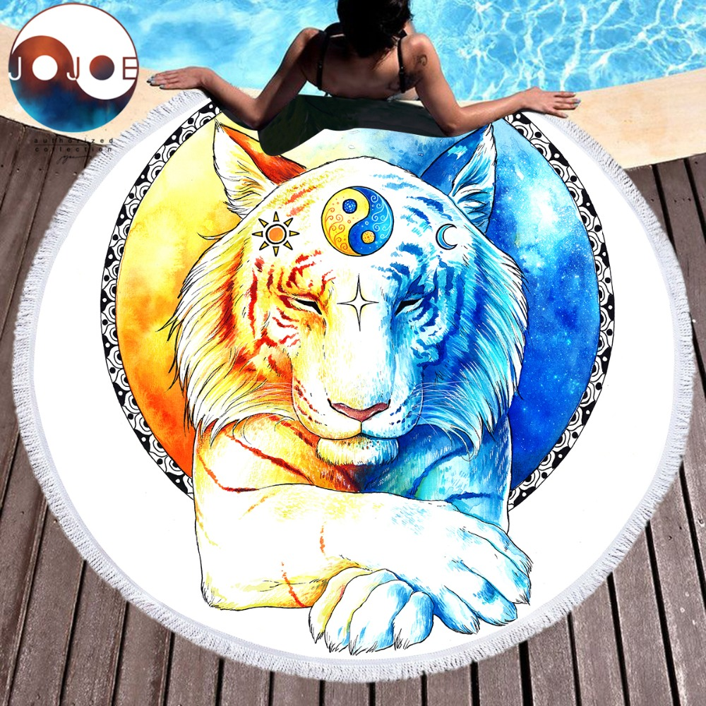 Yoga Towel Tiger: Inner Balance By JoJoesArt Large Round Beach Towel Tiger