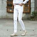 100% Algodão Branco Calça Reta dos homens Slim Fit Calças Masculinas 2016 Estilo moda Mid Cintura Dos Homens Calça Casual Homens Plus Size 42