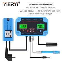 Yieryi Detector de calidad del agua 3 en 1, pH/TDS/TEMP, controlador de pH con electrodo, sonda tipo BNC, Probador de Calidad del Agua para acuario