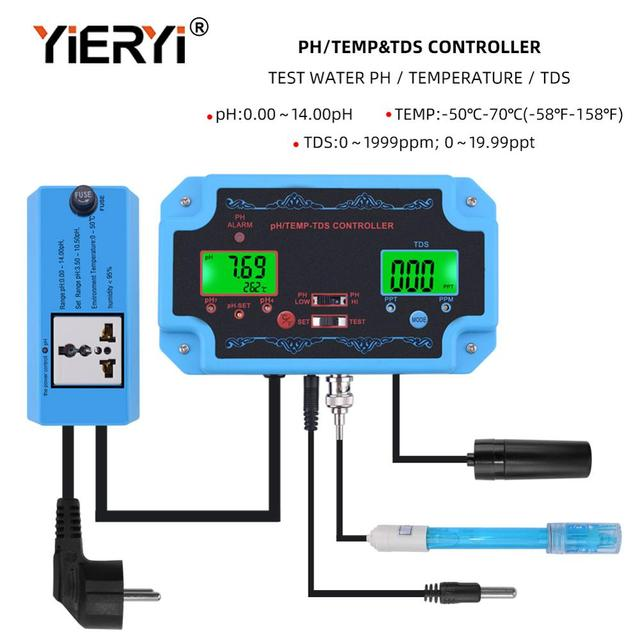yieryi 3 in 1 pH/TDS/TEMP Water Quality Detector pH Controller with Electrode BNC Type Probe Water Quality Tester for Aquarium