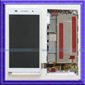 Branco lcd screen display toque digitador assembléia + quadro para huawei ascend p6 p6-u06