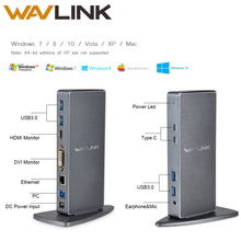 Wavlink Full HD 2048x1152 USB 3.0 Type-C USB-C Universal Docking Station+RJ45/DVI/HDMI/VGA/MIC/Audio Port DisplayLink FOR LAPTOP
