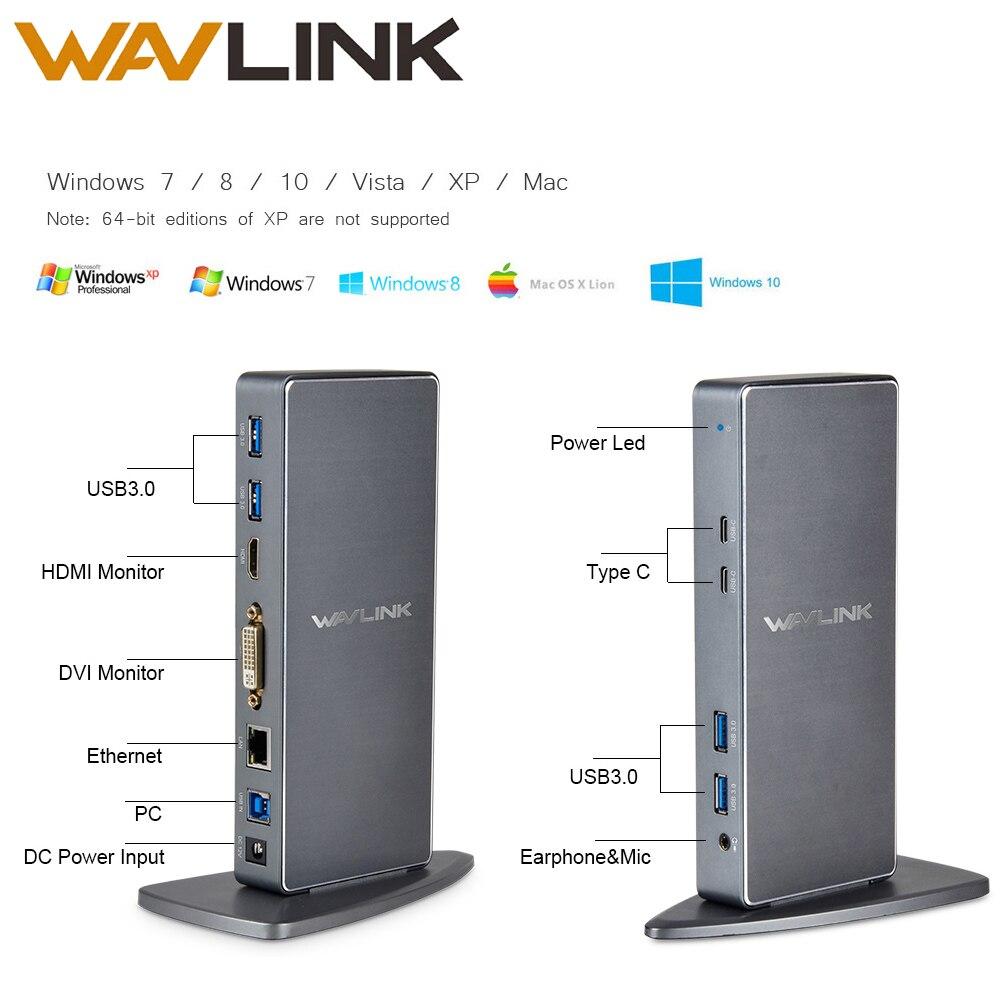 Wavlink Full HD 2048x1152 USB 3,0 Тип-C USB-C Универсальная док-станция + RJ45/DVI/ HDMI/VGA/MIC/аудио Порты и разъёмы DisplayLink для ноутбука