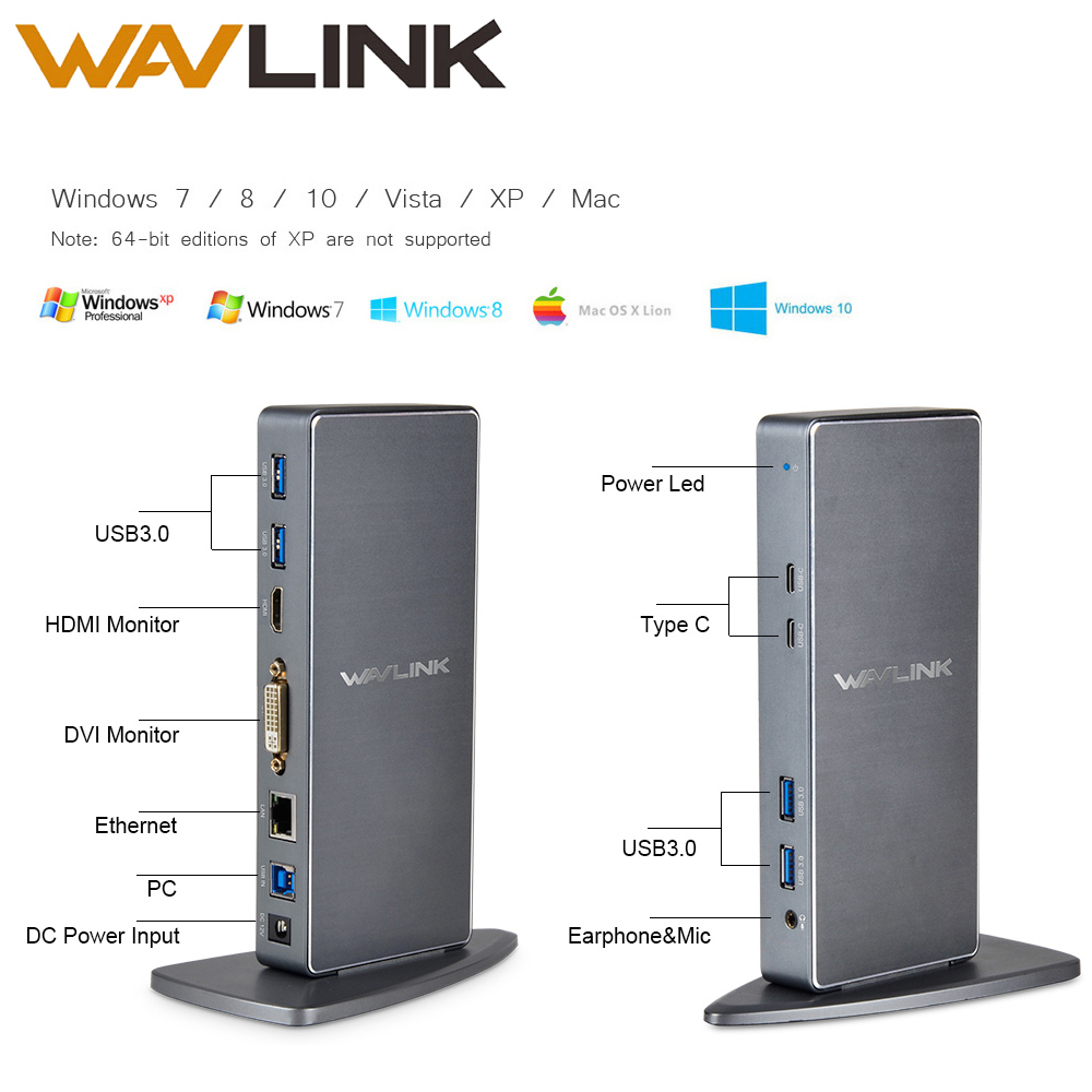 Wavlink Full HD 2048x1152 USB 3.0 Type-C USB-C Universeel dockingstation + RJ45 / DVI / HDMI / VGA / MIC / Audio Poort DisplayLink VOOR LAPTOP